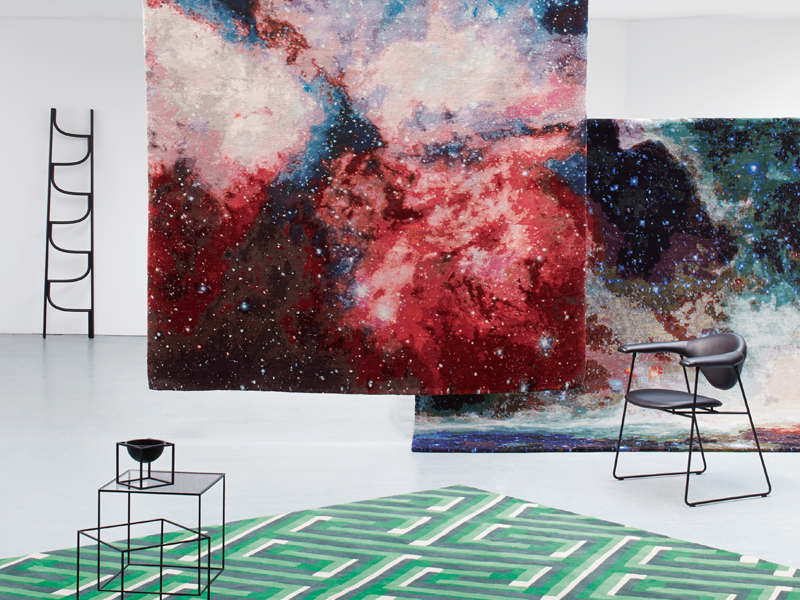 Front to back: Suzanne Sharp for The Rug Company, £4,763 ($7,621), Jan Kath for FRONT London, both £17,850 ($28,560). Photograph: Ania Wawrzkowicz