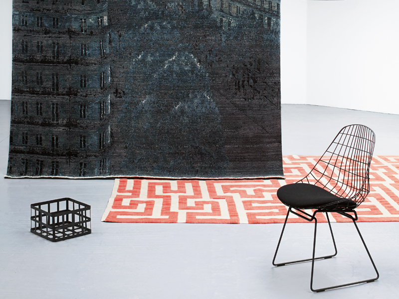 Top to bottom: Paris wool rug, from £8,182 ($13,091) per square meter, Luke Irwin; Red Meander wool rug by Anni Albers, £9,000 ($14,400), Christopher Farr. Photograph: Ania Wawrzkowicz