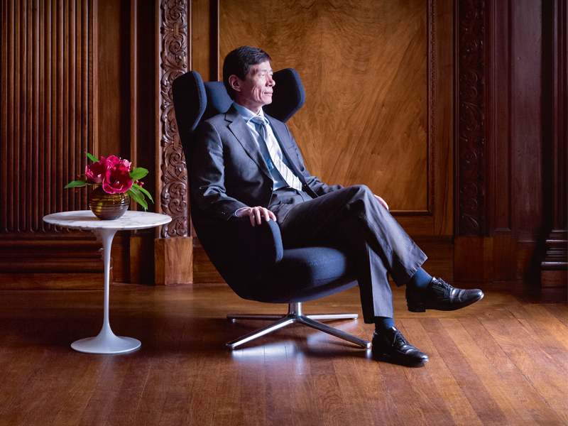 Songhua Ni, president of Reignwood Investments UK, at the UN Ballroom, Ten Trinity Square, London. Photograph: Paul Raeside