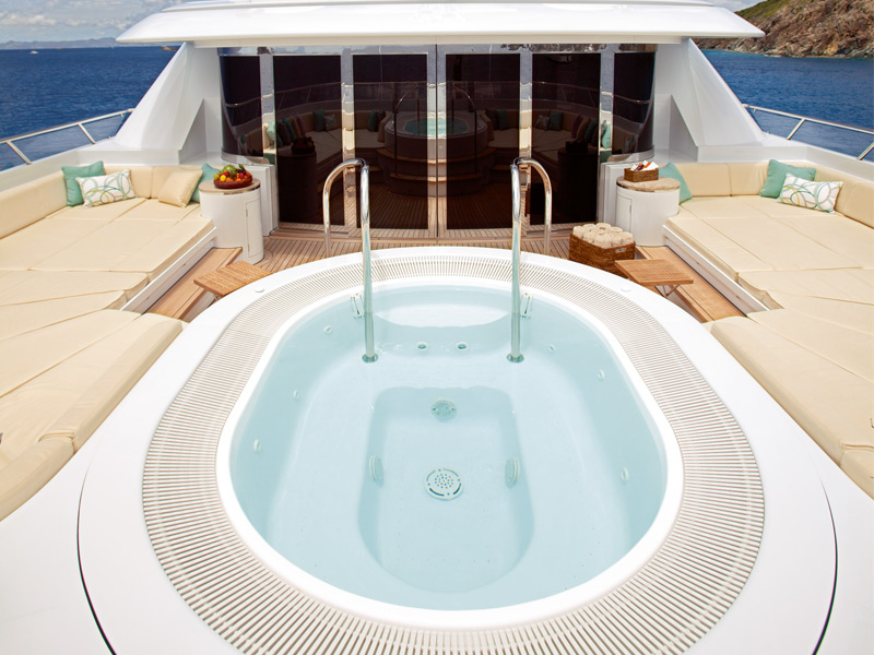 The Jacuzzui on board Lady Britt, the largest privately owned yacht in the world. Image: Edmiston