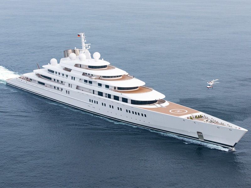 The largest privately-owned yacht in the world, Lürssen's 590-foot (180m) Azzam. Photograph: Klaus Jordan
