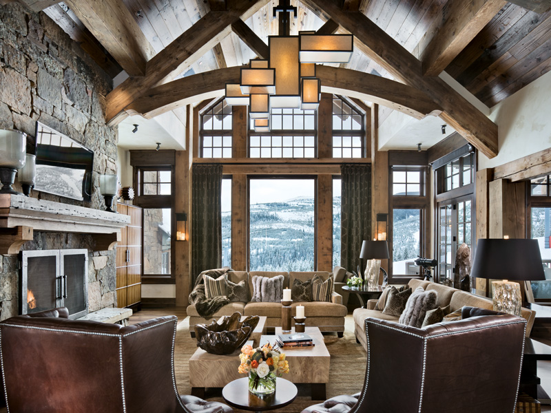 A Montana lodge, designed by Locati Architects, combines classic motifs - beamed ceilings and mantelpieces - with modern design touches. Photograph: Roger Wade, courtesy Locati Architects