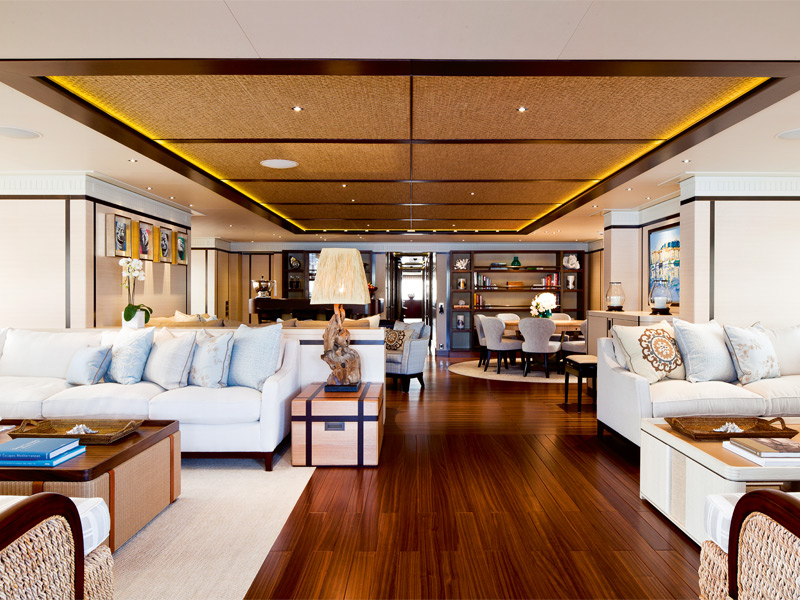 The main salon of the Baton Rouge, a seven-bedroom yacht available to charter via Burgess