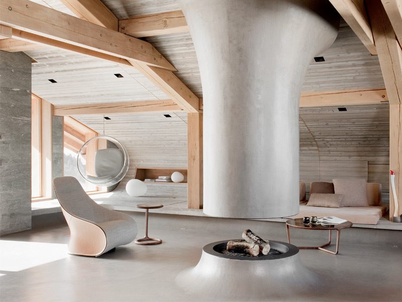 At Chalet Béranger in Saint-Martin-de-Belleville, France, concrete and stone are the materials of choice for floors and walls. Photograph: Vincent Leroux