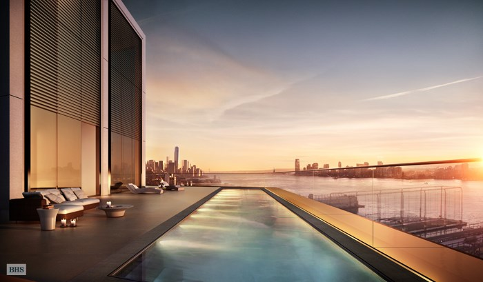 <b>3 Bedrooms, 6,398 Sq. Ft.</b><br>Soaring 250 feet above the Hudson River and downtown Manhattan, this extraordinary 6,398 SF home offers column-free interiors and breathtaking panoramic views in every direction, combining the grandeur of scale and proportion with exceptional craftsmanship and detail.