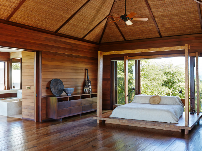 The master bedroom epitomizes the villas' warm and natural aesthetic. Photograph: Ngoc Minh Ngo