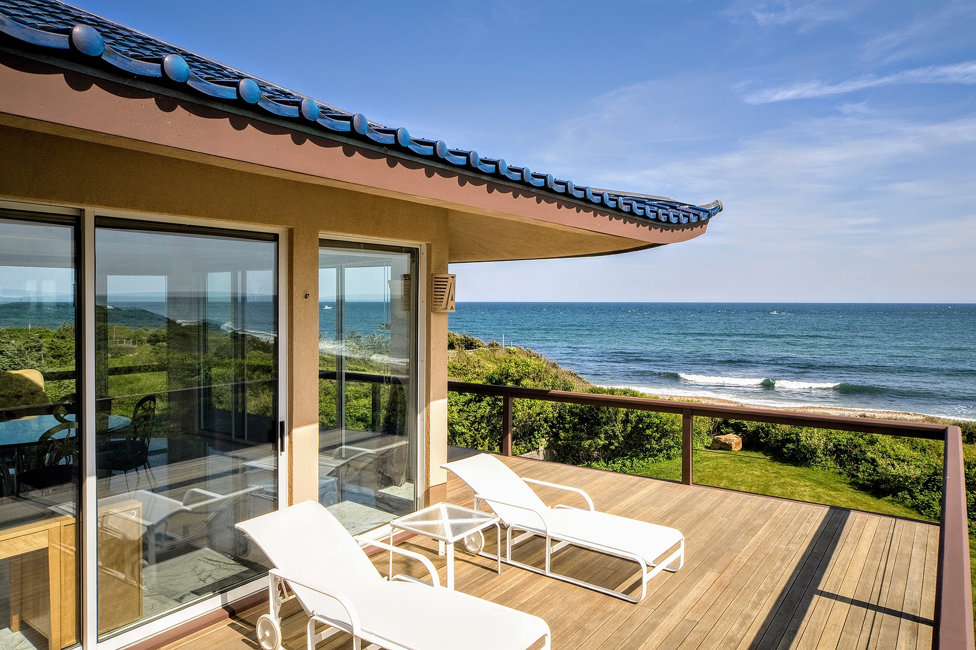 Subtle Asian influences are evident in this view from the residence's deck.