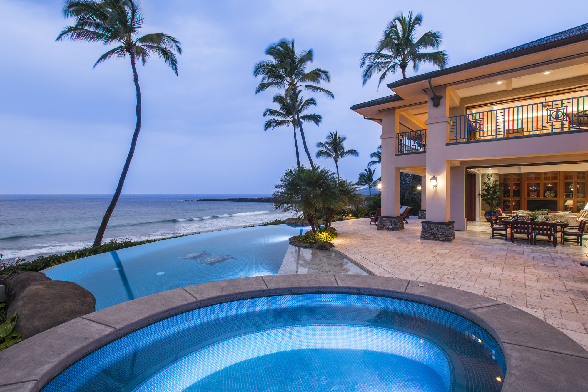 Hale Ali'i, one of only five beachfront estates on Oneloa Bay, the most pristine and enchanting beach in Kapalua, Maui, offers 7,475 square feet of luxurious living areas and lanais with unrivaled views of the Pacific Ocean and the island of Molokai.