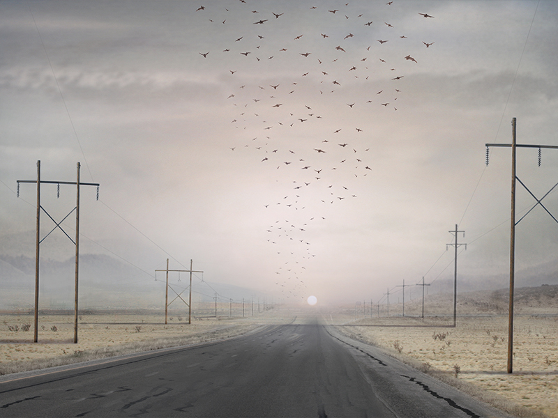 <i>Highway</i> (detail, 2009), from Suzanne Moxhay's <i>Borderlands</i> series (2008/9), which was inspired by Arizona and New Mexico travel journals from the middle of the last century.