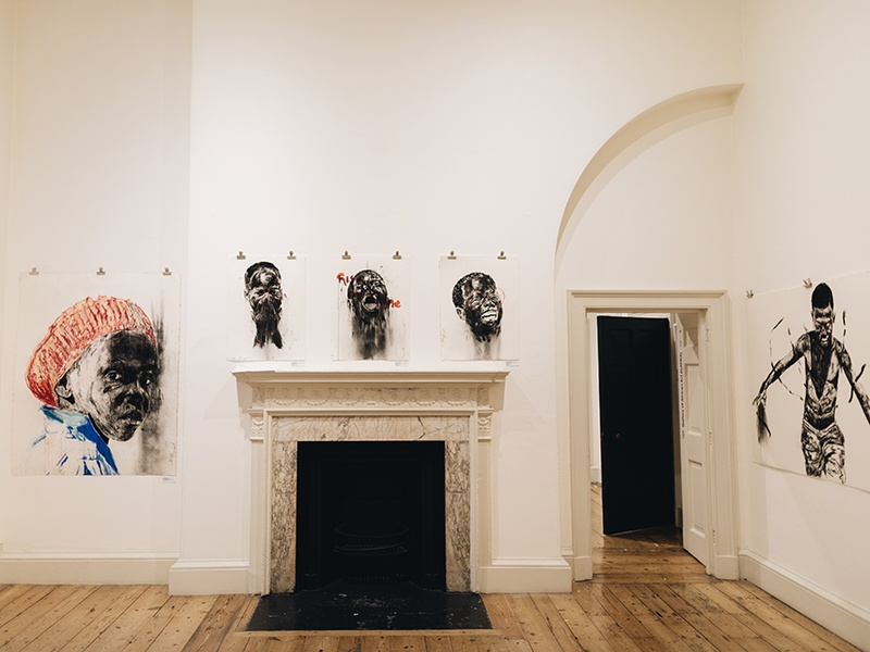 Works by Nelson Makamo of South Africa at the 2017 edition of 1-54 at London's Somerset House. From left: <i>Dark Comprehension</i>; <i>See no evil, hear no evil, speak no evil</i> (2017); and <i>Here Forever</i> (2017). Photograph: Katrina Sorrentino
