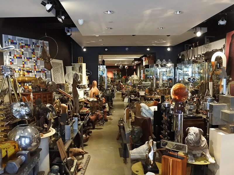 Mantiques Modern sells an eclectic mix of antiques, from restored airplane engines and coffee tables, to vintage European jewelry.