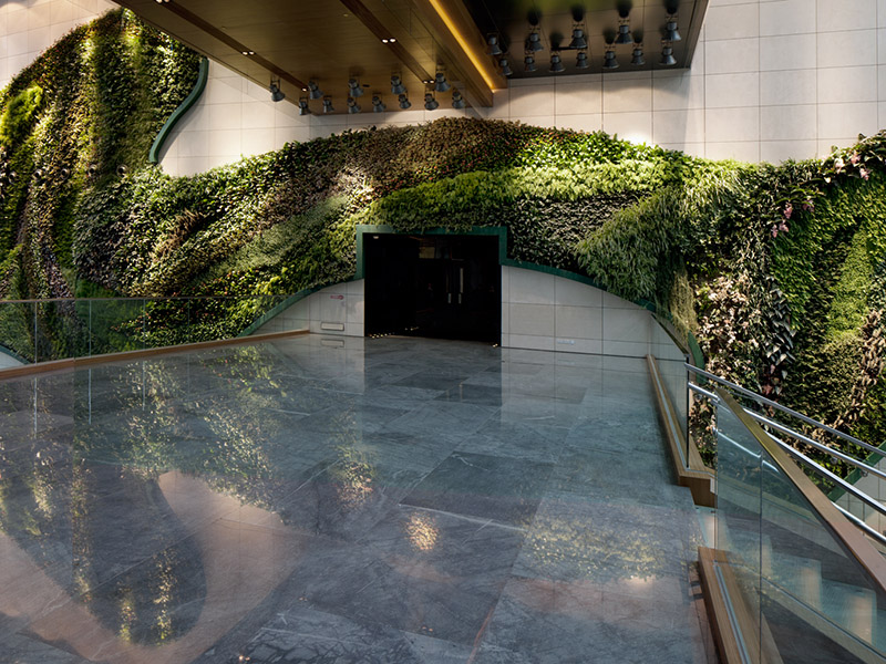 Hotel ICON's vertical garden is just one way the hotel generates oxygen – it also has a green roof and podium, and a landscaped garden to help produce clean air and reduce energy use.