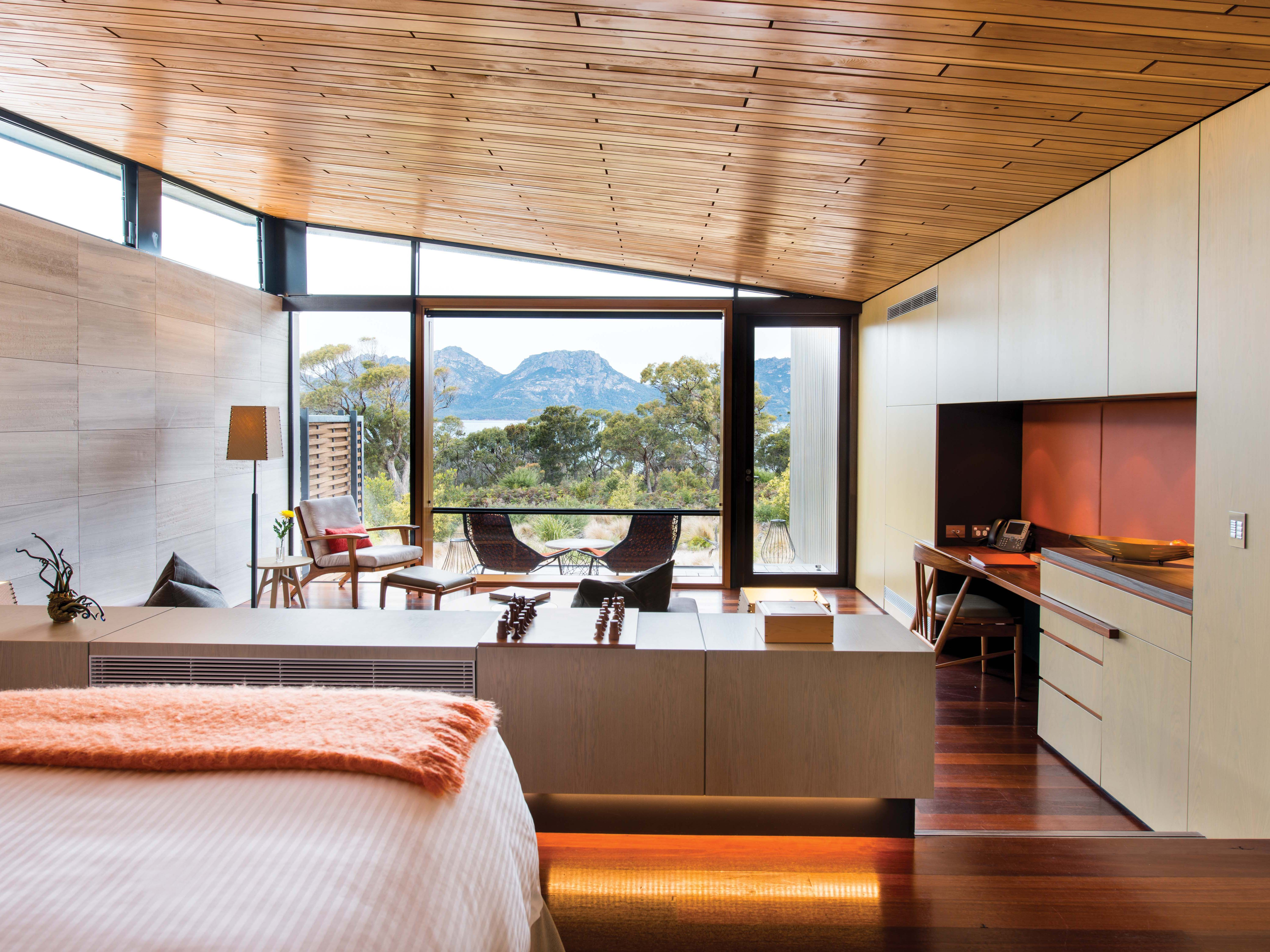 The owners of Saffire Freycinet are committed to environmentally sustainable practices, such as efficient hot-water and lighting usage, using natural air-flow systems, and limiting further impact on the landscape by using insulation and double glazing.