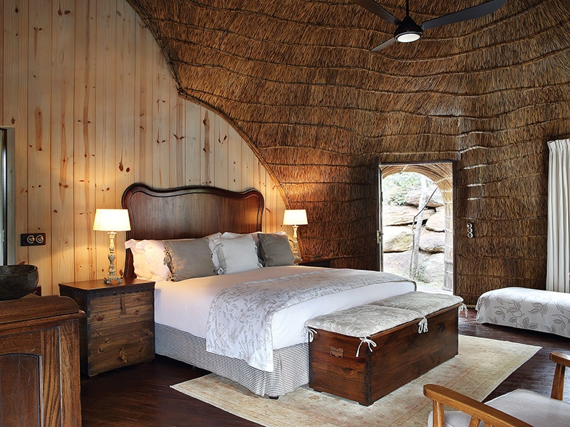Zulu Camp at Shambala Private Game Reserve offers you the experience of staying in traditional honeycomb-shaped chalets in the heart of the bushveld. Decorated in elegant Afro-French Provincial style, each chalet has an outdoor shower from where you can enjoy views of the spectacular landscape.