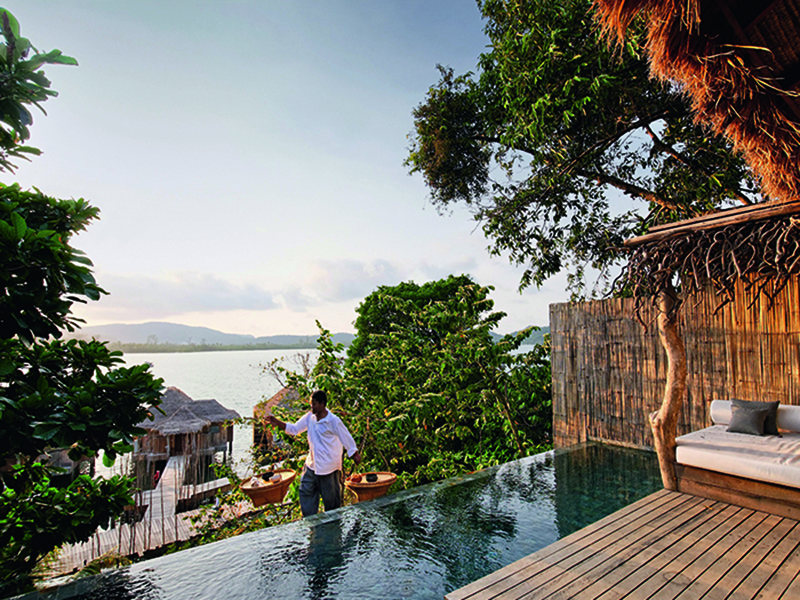 Rory and Melita Hunter were conscious about using recycled materials, and incorporated driftwood and timber from discarded Cambodian fishing boats into the construction of the Song Saa villas and furniture.