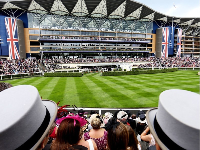 The 247 private boxes at Ascot offer uninterrupted views of the racecourse, and each includes a private bar and dining room with a flatscreen TV, bespoke catering, and a private balcony.