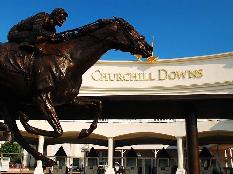 Barbaro was an American thoroughbred racehorse who won the 2006 Kentucky Derby, but shattered his leg two weeks later in the 2006 Preakness Stakes, eventually leading to his death. A bronze statue of the much-loved horse stands outside the entrance to Churchill Downs.