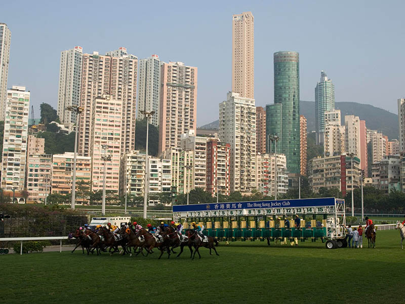 Bustling Hong Kong provides a stunning backdrop to the Happy Valley Racecourse, originally built in 1845 to offer horse racing to Britons living in the former colony.