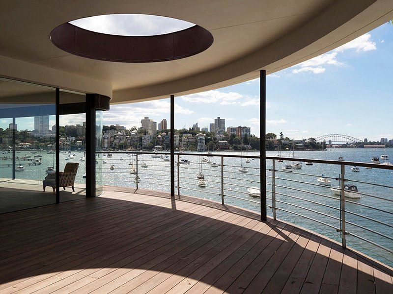 The hardwood decking at Harbour Front-Row Seat, ideal for the frequent fireworks over Sydney Harbour. Photograph: Justin Alexander