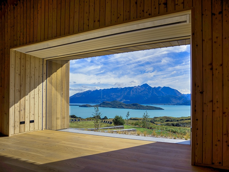 Aro Hā's yoga space opens up to incredible views of the Southern Alps and the glacial-fed Lake Wakatipu. Photograph: Neville Porter