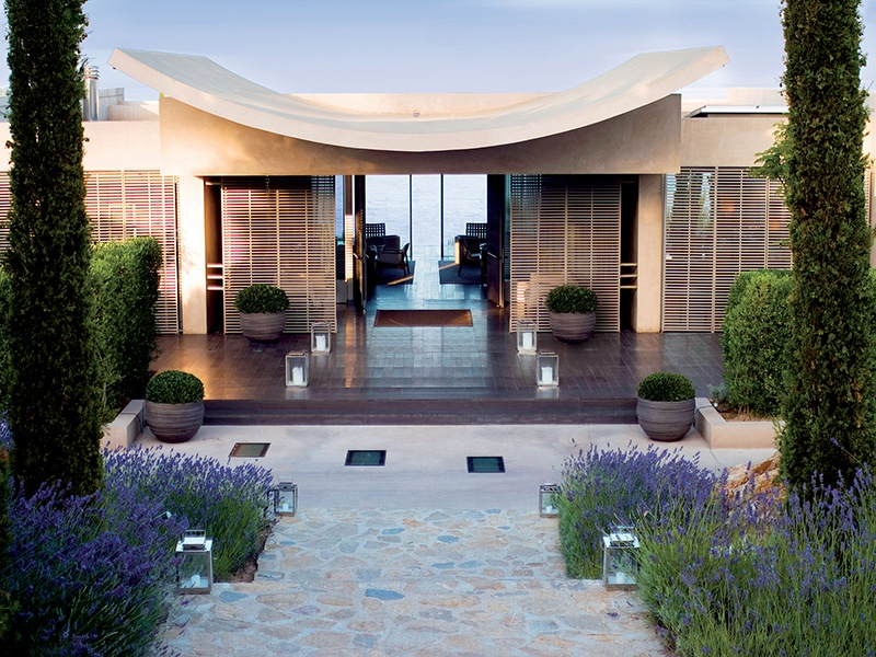 Lavender borders aid La Réserve's seamless integration into the Mediterranean landscape near Saint-Tropez. Photograph: G. Gardette/La Réserve Ramatuelle. Banner image: Spirituality underpins the wellness ethos at the Nira Spa, Shanti Maurice.