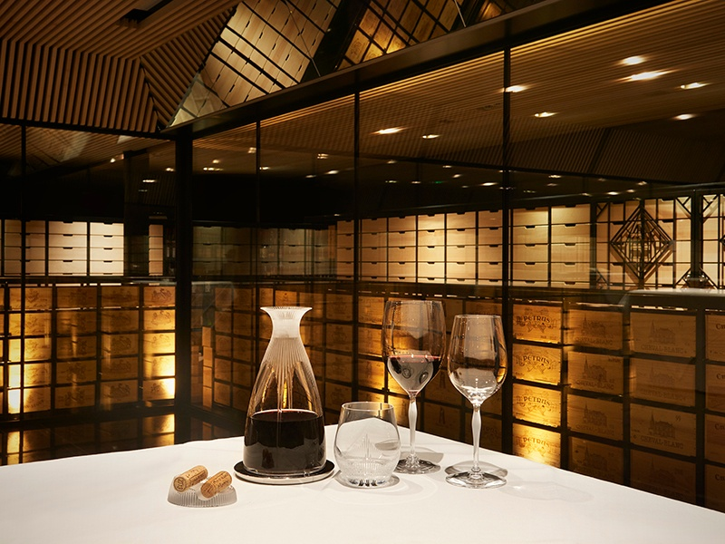 Designed by Swiss architect Mario Botta, Villa René Lalique's wine cellar is an impressive space, stocked with over 12,000 bottles, that restaurant and hotel guests are permitted to visit.