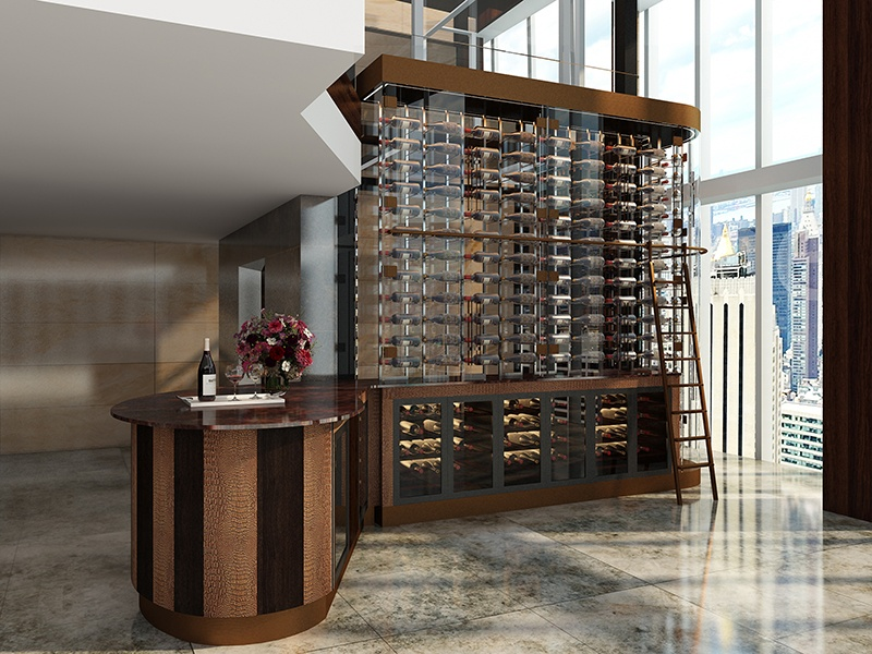 Wine walls, like this one designed by Cellar Maison for a five-star London hotel, store bottles behind framed or frameless glass with climate control, and feature LED back-lighting that can be color-coordinated to suit the look of a home.