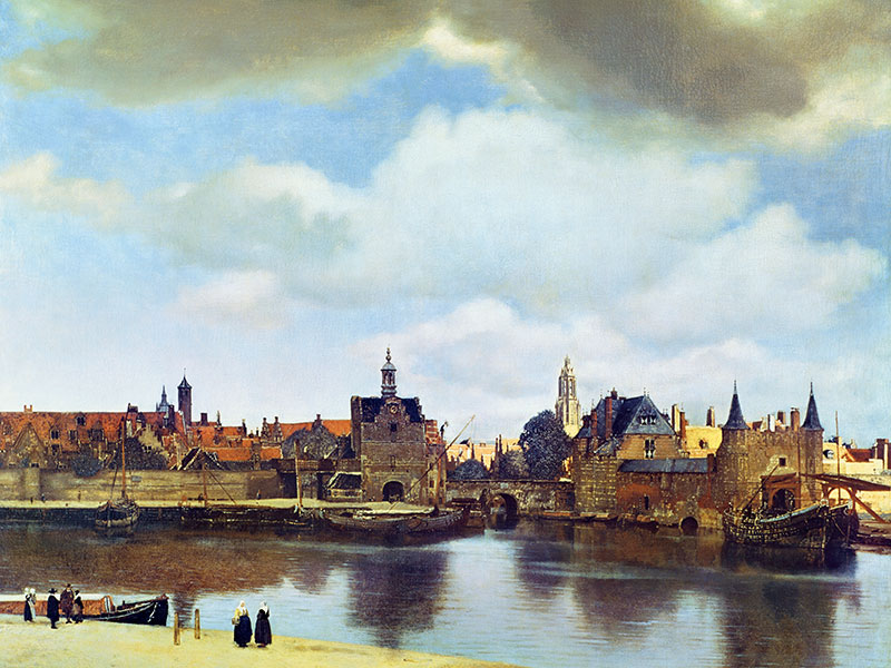 Landscape painting was slow to take off in the West before artists like Johannes Vermeer (1632-1675) embraced the form in works such as his <i>View of Delft</i> (1659-60). Photograph: The Gallery Collection/Corbis. Banner image: George Shaw's woodland paintings resonate with his experience of walking in the forest near his home as a teenager. Pictured here, detail from <i>Hanging Around (Landscape without Figures)</i> (2012). Banner photograph: © The Artist and Wilkinson Gallery, London