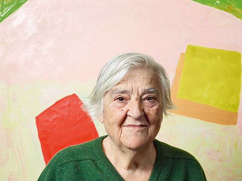 As a painter, Etel Adnan is best known for her semi-abstract landscapes in vibrant, vivid colors. Photograph: James Mollison