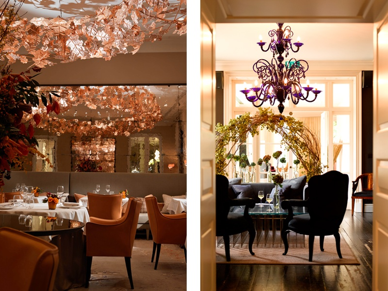 A copper oak-leaf sculpture at Coworth Park hotel (left) was one of the features that helped clinch <i>House &amp; Garden</i> magazine's Pineapple Achievement Award for Outstanding Contribution to Hotel Design. Hulbert's work at The Grove hotel (pictured right), which is just outside London, also won plaudits. Photographs: Coworth Park, The Grove