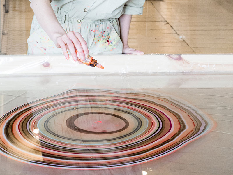 "Every floorboard is a ""captured moment on the surface of the water where the colors float,"" says Pernille Snedker Hansen."
