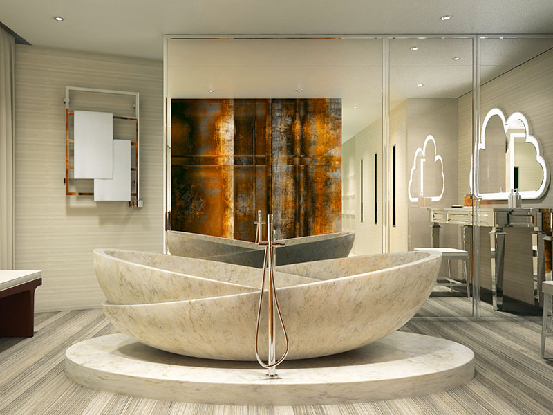 Bold, comtemporary designs, like this De Basto bath, are now possible due to improved stability technology aboard yachts.