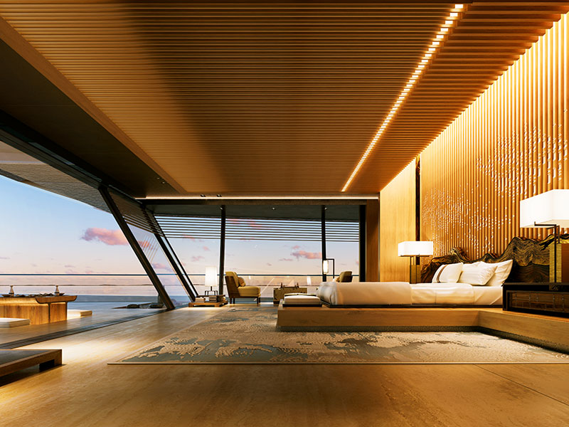 Slick and streamlined interiors – complete with custom furniture – by Sinot Exclusive Yacht Design on board the Symmetry.
