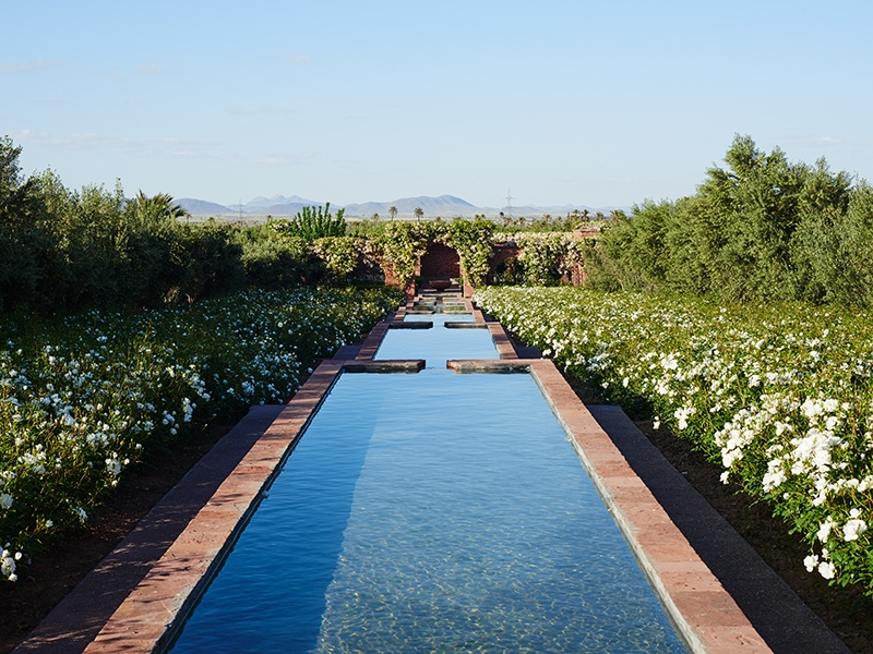 Water features, lush foliage, and views of the landscape beyond feature at this Moroccan palace. Photograph: Kensington Luxury Properties