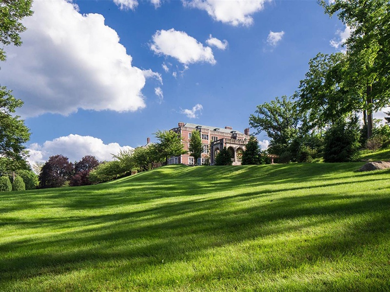 Originally constructed in 1907, this estate comprises 50,000 square feet of living space and grounds framed by the Ramapo Mountains. Photograph: Special Properties Real Estate Services