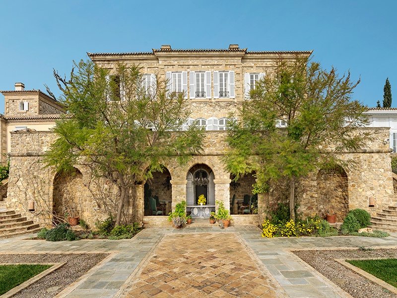 With architecture that evokes a French château, this ten-bed, eight-bath home makes a grand impression. Photograph: Ploumis Sotiropoulos