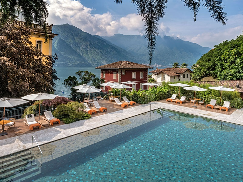 The Piscina dei Fiori (the pool among the flowers) is tucked away in the hotel's tranquil park but still affords stunning views of the lake.
