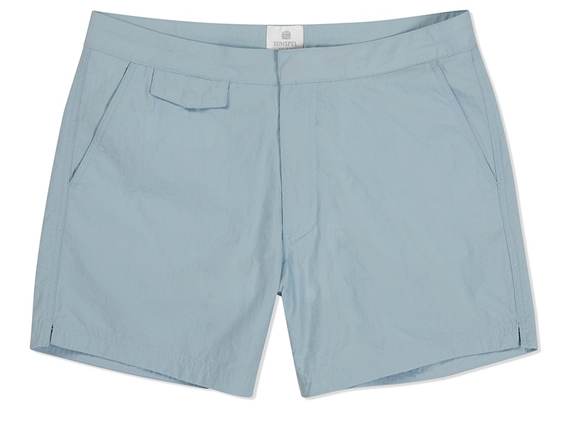 These James Bond-inspired Sunspel swim shorts in sky blue have a cool 1960s look.