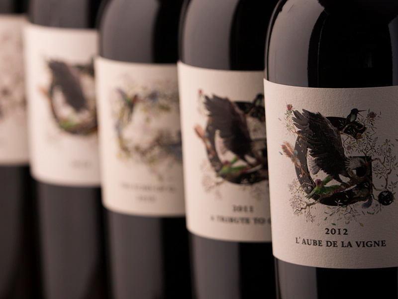 The labels on 4G Wines' bottles feature hand-drawn illustrations by artist Sebastian Blinde.