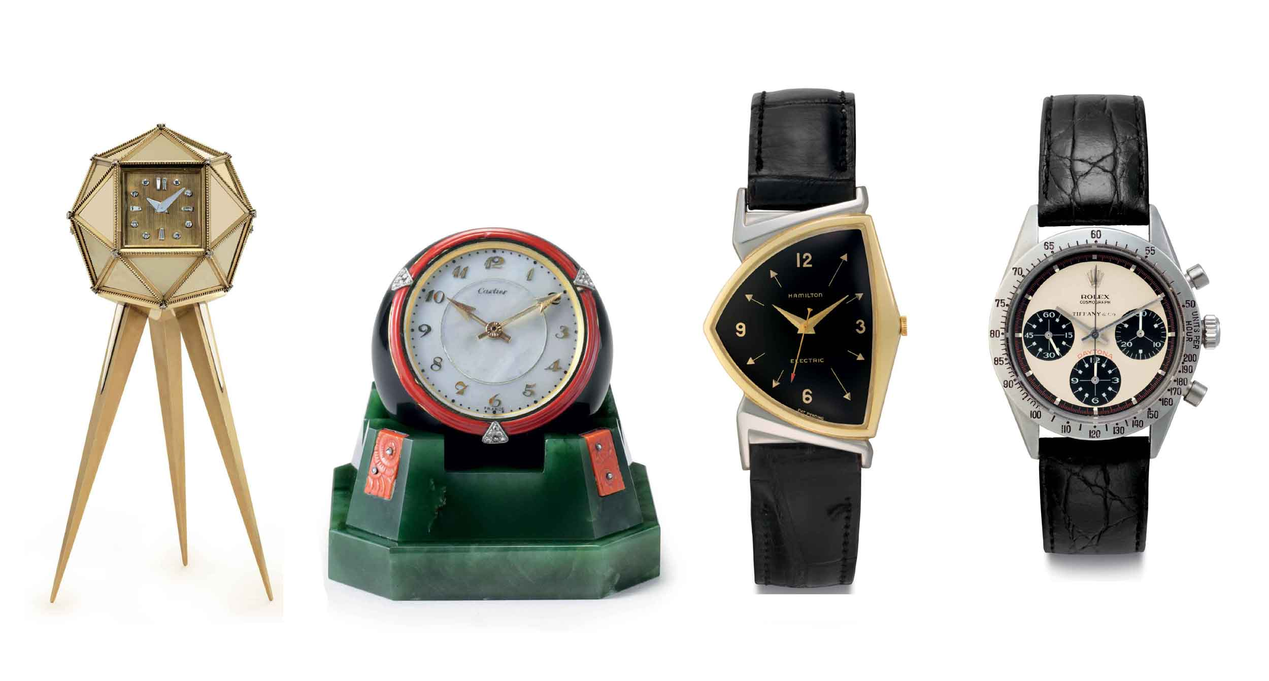 <b>Highlights from Christie's <em>Rare Watches and American Icons</em> sale, from left to right:</b><br/><a href=&quot;http://www.christies.com/lotfinder/watches/cartier-a-very-fine-18k-gold-silver-6085937-details.aspx?from=salesummery&amp;intObjectID=6085937&amp;sid=c59a3e84-d347-4773-aeb5-b466d6fc1c9c&quot; target=&quot;_blank&quot;>Lot 128</a>: An 18k gold, silver, and diamond-set polyhedral Cartier desk clock ($80,000–120,000)<br/><a href=&quot;http://www.christies.com/lotfinder/watches/cartier-an-extremely-fine-and-rare-nephrite-6085931-details.aspx?from=salesummery&amp;intObjectID=6085931&amp;sid=c59a3e84-d347-4773-aeb5-b466d6fc1c9c&quot; target=&quot;_blank&quot;>Lot 122</a>: A nephrite, onyx, coral, mother-of-pearl and diamond-set Cartier desk clock ($70,000–110,000)<br/> <a href=&quot;http://www.christies.com/lotfinder/watches/hamilton-a-fine-and-historically-important-two-tone-6086057-details.aspx?from=salesummery&amp;intObjectID=6086057&amp;sid=1e916dd9-b9d0-4793-8ac3-fa45ac989486&quot; target=&quot;_blank&quot;>Lot 249</a>: A two-tone gold filled asymmetrical Hamilton wristwatch with center seconds and black dial, belonging to the 36th President of the United States, Lyndon B. Johnson ($15,000–30,000)<br/> <a href=&quot;http://www.christies.com/lotfinder/watches/rolex-a-very-fine-and-rare-stainless-6085857-details.aspx?from=salesummery&amp;intObjectID=6085857&amp;sid=8c020433-38ca-4c76-b0ba-0af2d4a75fc5&quot; target=&quot;_blank&quot;>Lot 48</a>: A stainless steel Rolex chronograph wristwatch with &quot;Paul Newman&quot; dial ($200,000–400,000)
