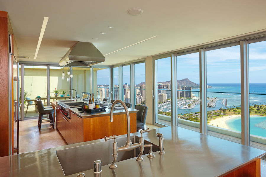 Located in Hokua, one of Honolulu's top luxury condos, this penthouse has not one but two fabulous kitchens outfitted with deluxe finishes and professional-grade appliances.