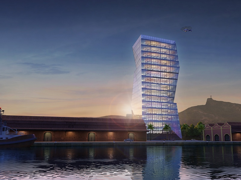The innovative, LEED-approved design of the Olympic Tower, also in the Porto Maravilha.