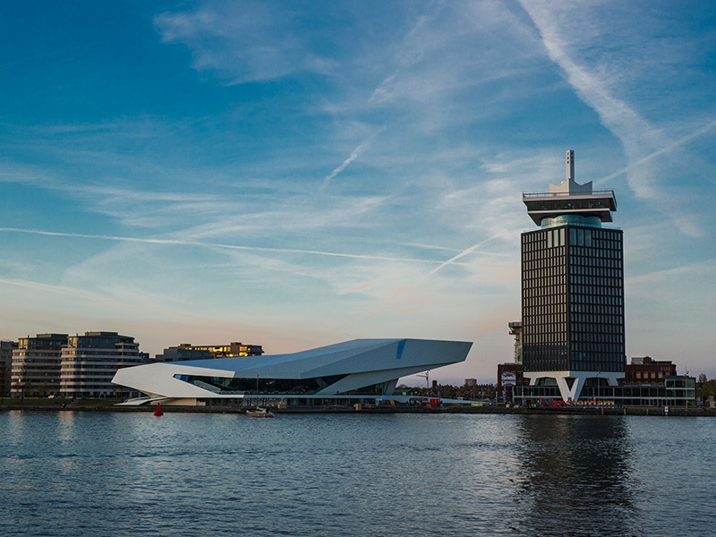 The 22-story A'DAM Toren is home to a mix of offices, cafés, a hotel and a revolving restaurant. Its observation deck offers spectacular views of Amsterdam, including the impressive EYE Film Institute.