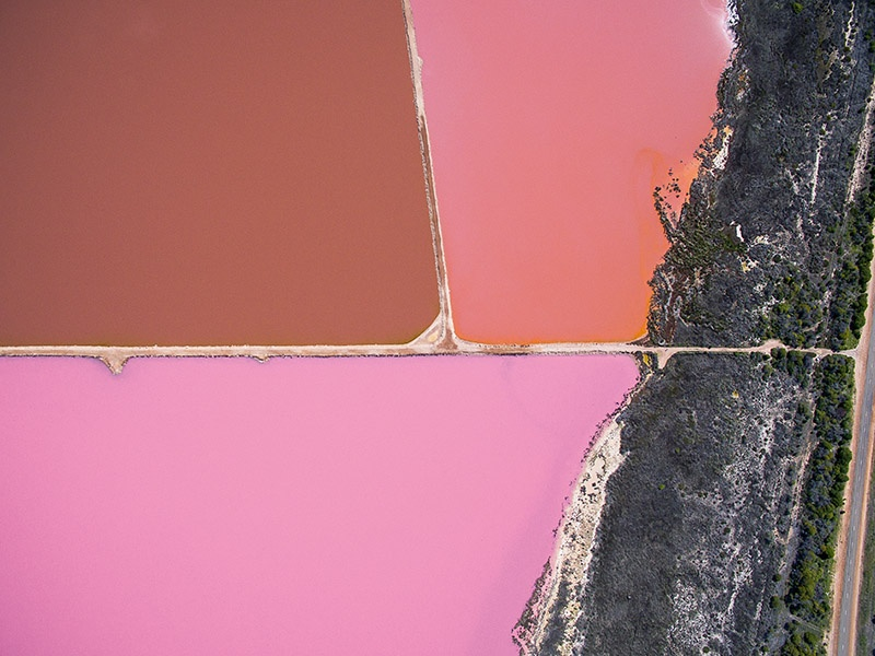 Photographer and former pilot Todd Kennedy's arresting overhead compositions invite second (and third) looks, like this aerial shot of a bright pink lake at a bacteria farm in Australia.