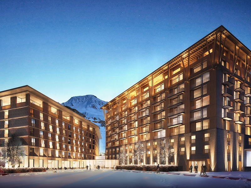 The grand Andermatt Swiss Alps development comprises apartments, chalets, and the Gotthard Residences, which also benefit from hotel services.