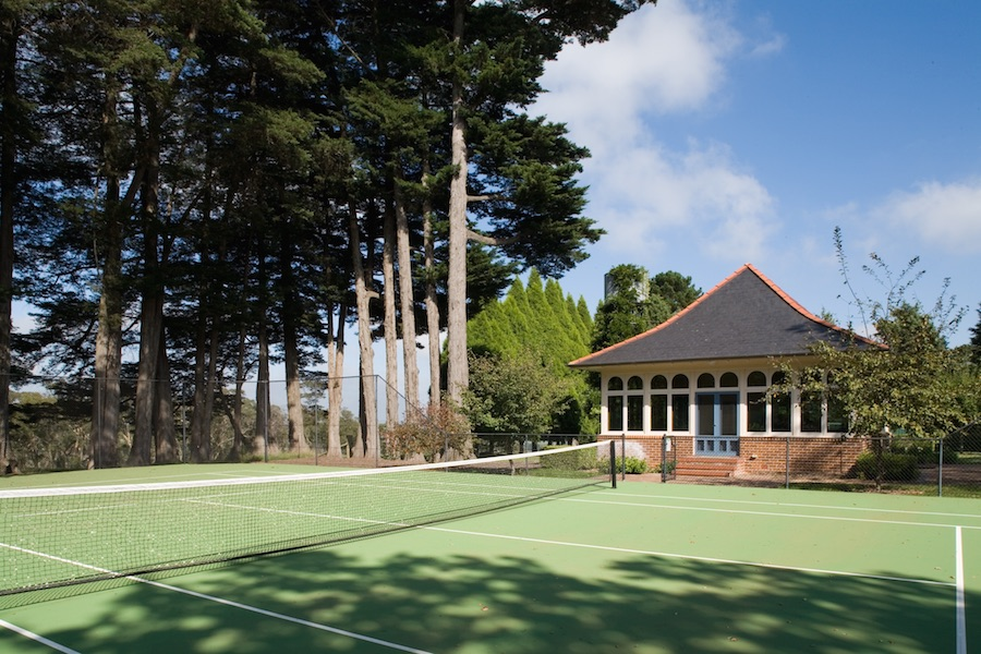 The original tennis courts at Highfield, a 1901 Tudor-style estate in New South Wales, have been fully restored.