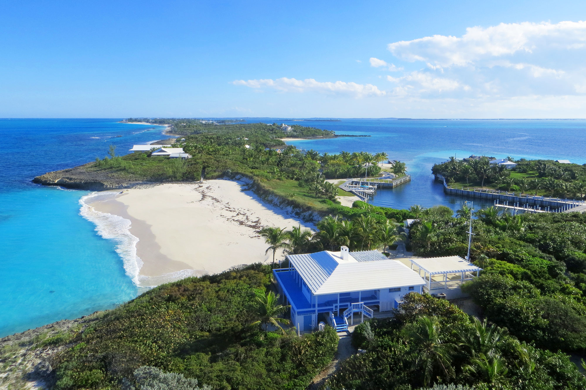 This tropical idyll in the Abaco region of the Bahamas includes four unique residences, staff quarters, a party pagoda, beach pavilion, and its own private marina.