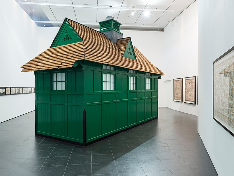 A scale model of a Victorian cabman's shelter featured in Adam Dant's project for Bloomberg, <i>The Budge Row Bibliotheque</i>, encapsulating 2,000 years in the life of one street in the City of London.
