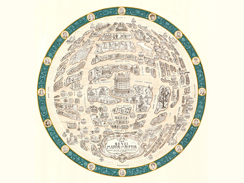 One of Adam Dant's many maps of areas in London, depicting well-known characters as well as places.