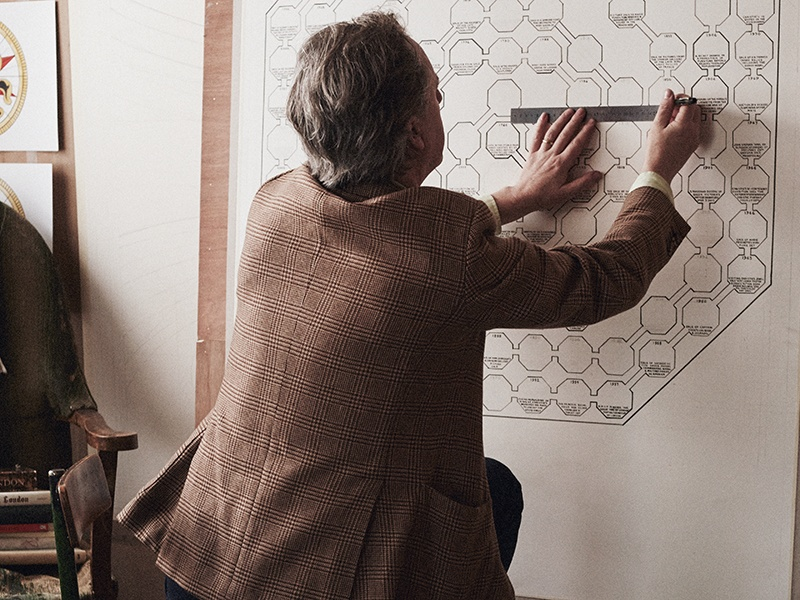 Adam Dant at work on the Christie's timeline at his East London studio. Photograph: Rahel Weiss